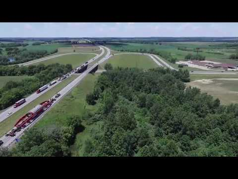 Drone Video of Oversized Load Moved Through Grayville, Illinois
