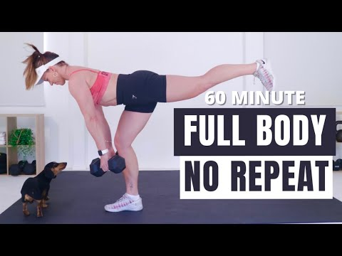 60 MIN NO REPEAT FULL BODY WORKOUT - Workout with Weights🔥Burn 400 Calories🔥