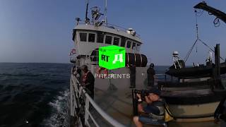 Inspecting a fishing vessel with Gabonese marines in 360