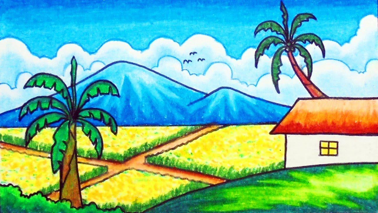 Menggambar Dan Mewarnai Pemandangan Alam Gunung Dan Sawah