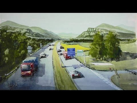 You will see how to paint a landscape with a motorway in watercolor technique