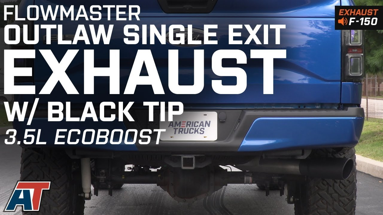 2015 2018 f150 flowmaster outlaw single exhaust w black tip 3 5l ecoboost sound clip install