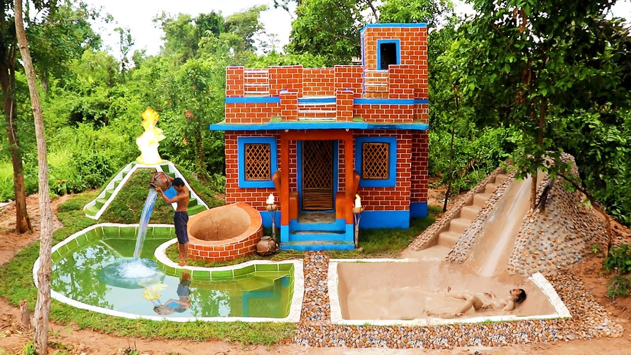 Build Mud Pool Architecture Design & Swimming Pool With Land Slide