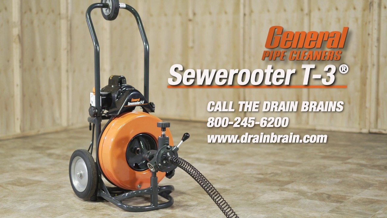 Sewerooter T-3 - Clear most 2″ to 4″ inside drains up to 100 ft. long.