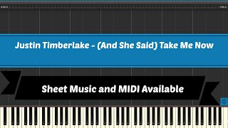 (And She Said) Take Me Now - Justin Timberlake [Sheet Music and Midi Download]