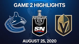 NHL Highlights   2nd Round, Game 2: Canucks vs. Golden Knights – Aug. 25, 2020