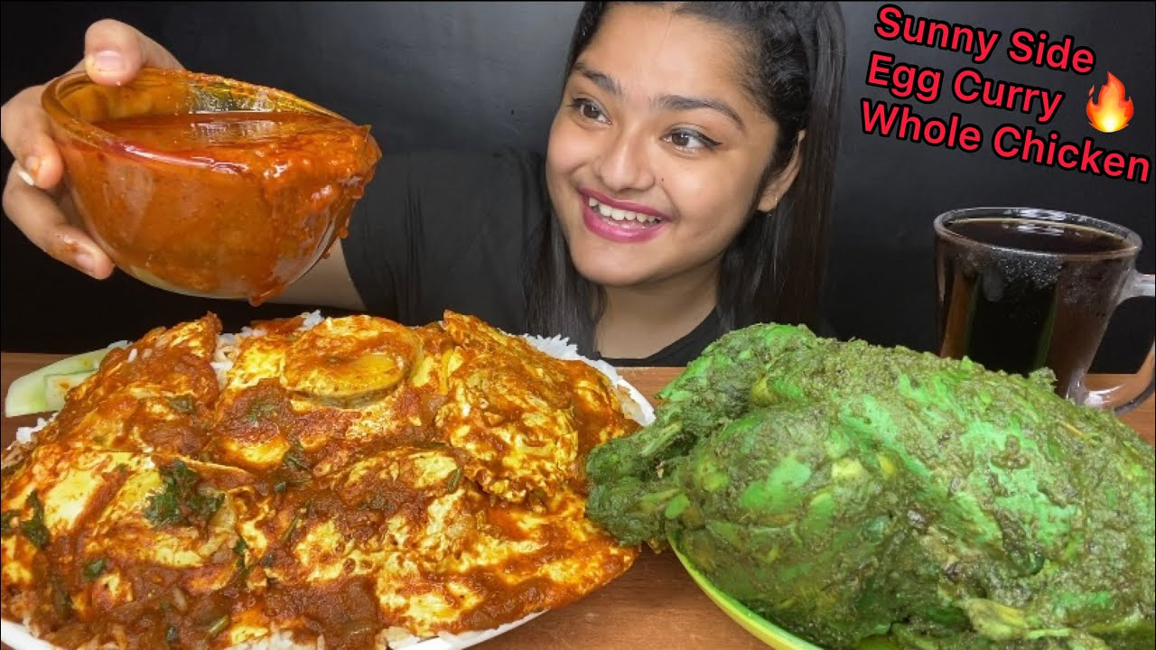Download SPICY TANDOORI GREEN WHOLE CHICKEN AND SPICY SUNNY SIDE UP EGG CURRY WITH BASMATI RICE | EATING SHOW