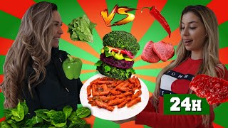 RED VS GREEN FOOD FOR 24 HOURS | LUUKKU 15