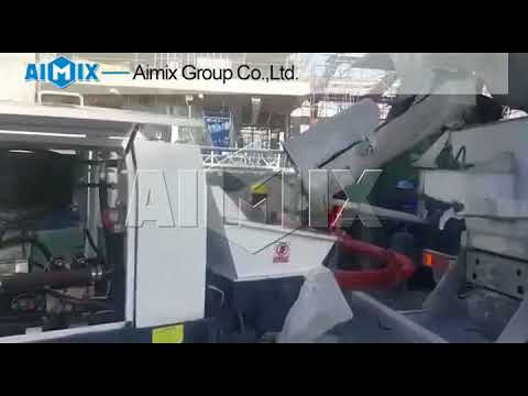 Working video of AIMIX HBTS40-12-82R Diesel Concrete Trailer Pump in Vietnam