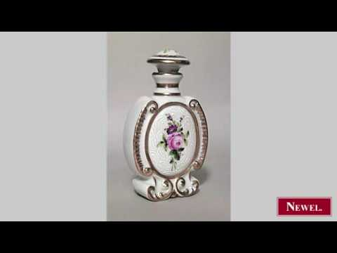 Antique French Victorian white porcelain perfume bottle