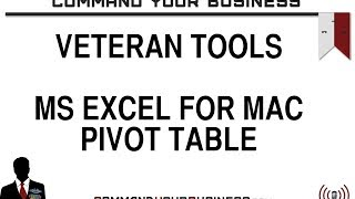 How to: Pivot Table Microsoft Excel 2011 for Mac