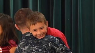 Military Dad Surprises Son During School Presentation on Patriotism