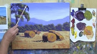 "Learn To Paint TV E11 ""Grampians Hay Bales"" Landscape Painting in Acrylic Paint Beginners Tutorial"