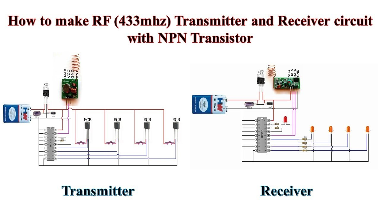how to make rf 433mhz transmitter and receiver circuit with npn transistor [ 1280 x 720 Pixel ]