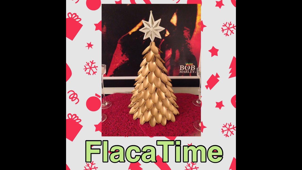 Diy c mo hacer rbol de navidad con cucharas de pl stico - Como hacer tarjetas de navidad ...