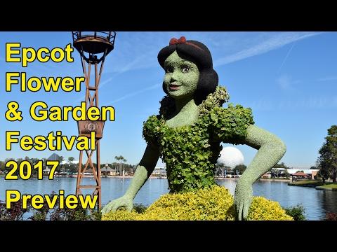 Epcot Flower & Garden Festval 2017 Topiary Preview w/Snow White, Anna & Elsa + - Walt Disney World