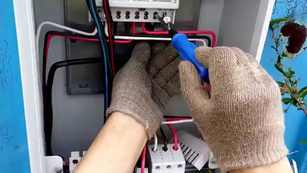 дача электрощиток на столбе схема