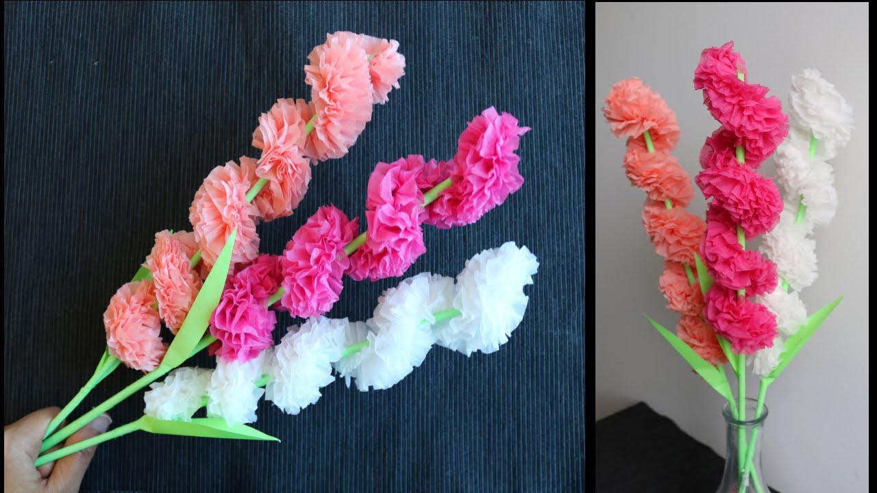 How To Make Simple and Beautiful Tissue Paper Flower Stick - DIY Paper Craft