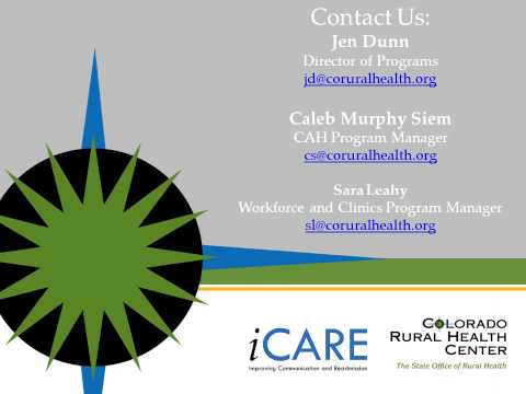 Webinar: Colorado's Improving Communications and Readmissions (iCARE) Project