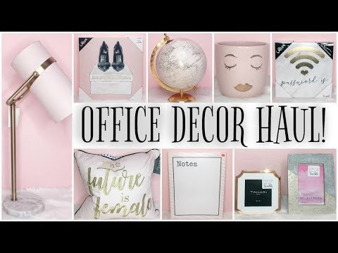 FILMING STUDIO & OFFICE DECOR HAUL! ♡ GIRLY, PINK, GOLD & MARBLE! thumbnail