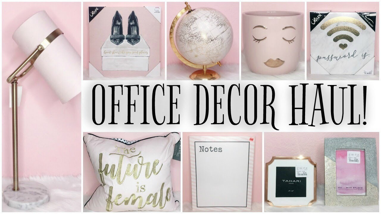 FILMING STUDIO U0026 OFFICE DECOR HAUL! ♡ GIRLY, PINK, GOLD U0026 MARBLE!