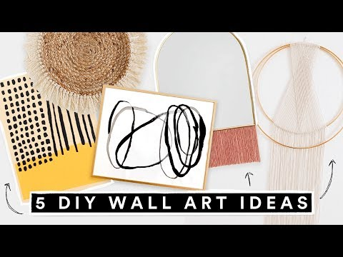 5 DIY WALL ART DECOR IDEAS - Affordable + Cute Room Decor!! - YouTube