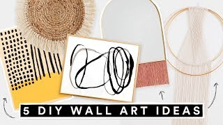 5 DIY WALL ART DECOR IDEAS - Affordable + Cute Room Decor!!