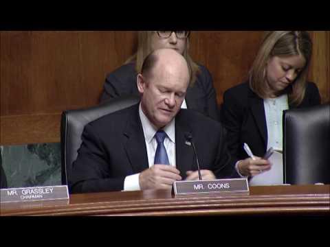 Senator Coons speaks at Judiciary Committee IP hearing April 25, 2017