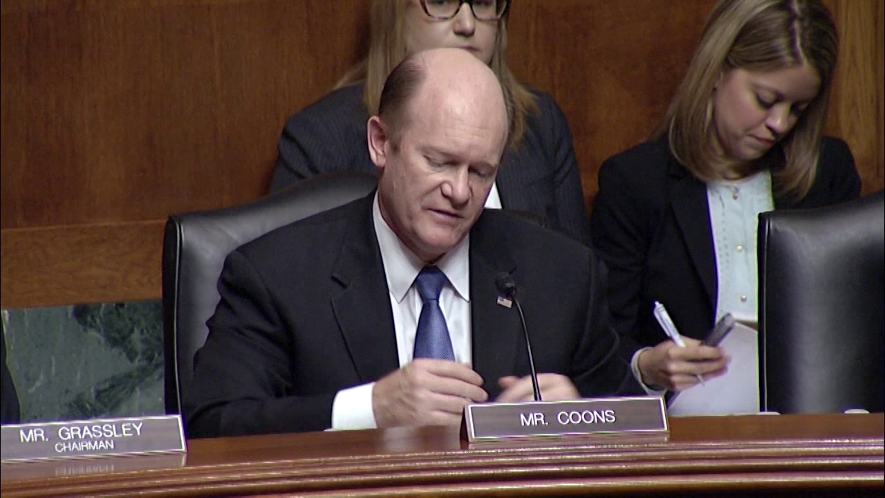 Image result for IMAGES OF SEN COONS AT HEARING