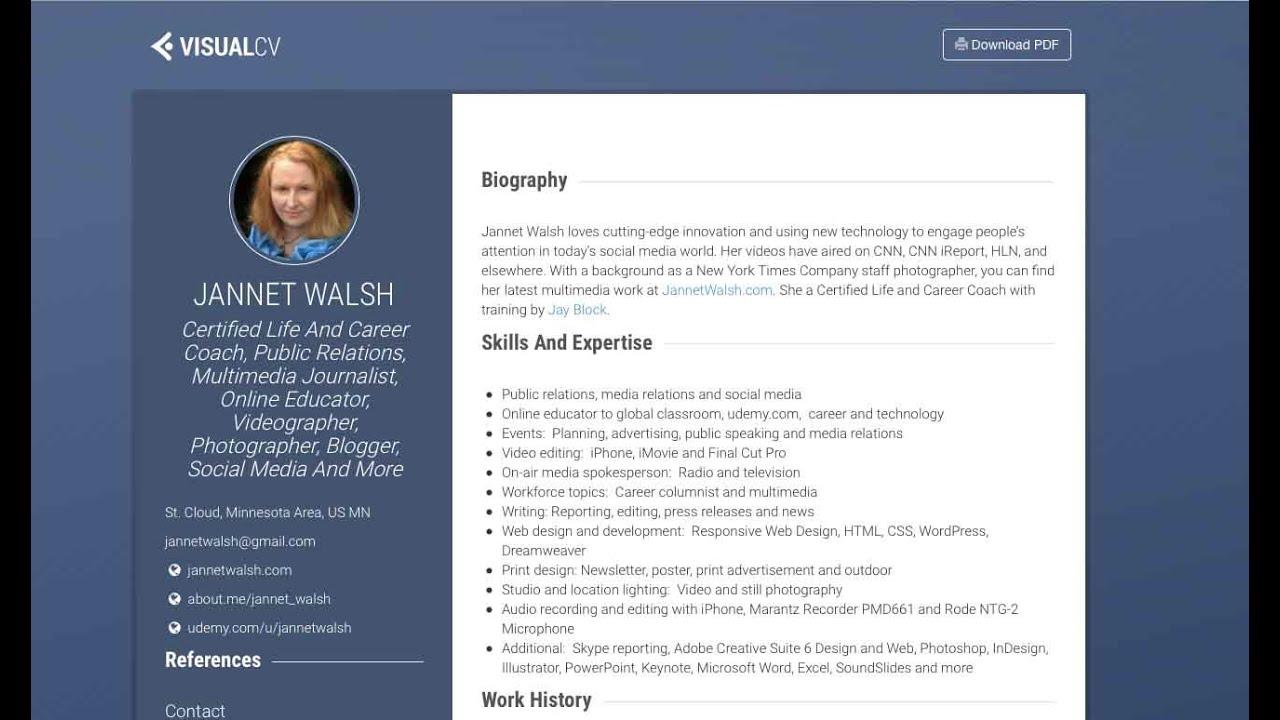 Create online resume  visualcvcom  YouTube
