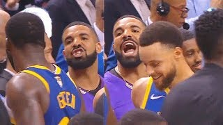 Drake Trash Talks Draymond Green While Stephen Curry Watches After Game 1! Warriors vs Raptors