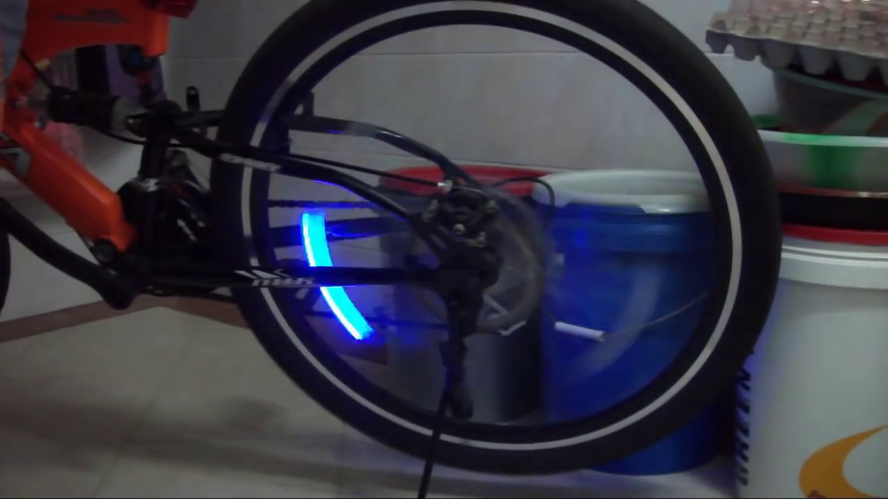 Testing out valve cap LED light for my bike  YouTube