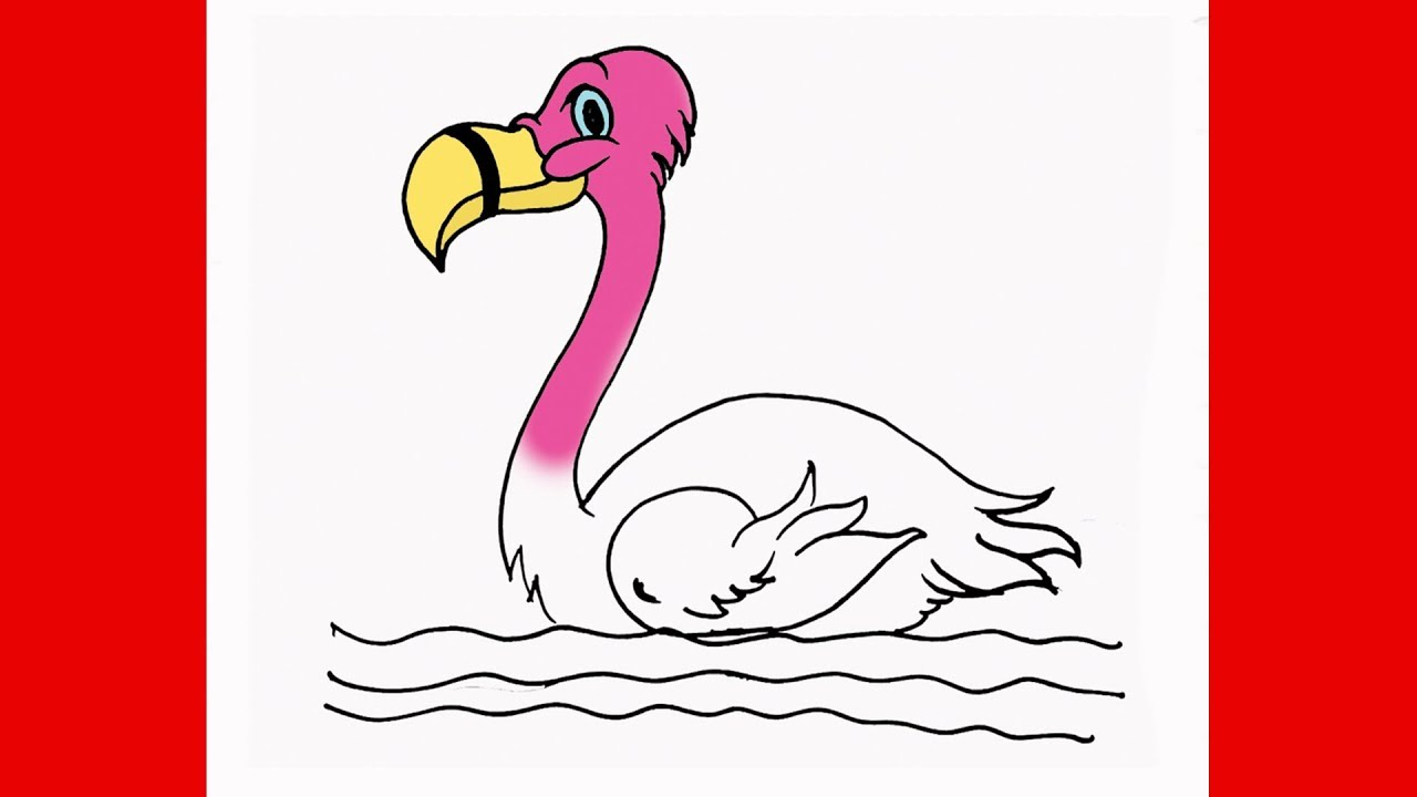 How To Draw Flamingo Step By Step Easy Bird Drawing Lesson For Kids