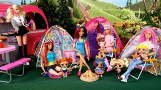 Barbie Doll LOL Family Camping Adventures with Baby Goldie