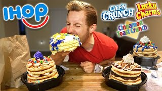 CEREAL PANCAKE IHOP MUKBANG! (ALL NEW FLAVORS)