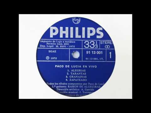 Paco de Lucía. En vivo desde en Teatro Real. Cara A. LP vinilo Philips, ed. 1975.