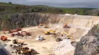 Machines at work in Lafarge's Tarmac quarry