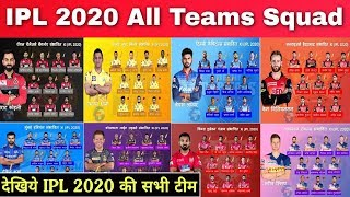 IPL 2020 : All Teams Squad || RCB, CSK, MI, KXIP, DC, SRH, RR, KKR Team Squad || Player List