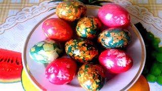 Как покрасить яйца на пасху своими руками. 3 СПОСОБА: мраморные, луковой шелухой, тканью