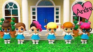Muñecas L.O.L. quieren ser porristas en la escuela!!! Juguetes con Andre jugando con LOL Surprise