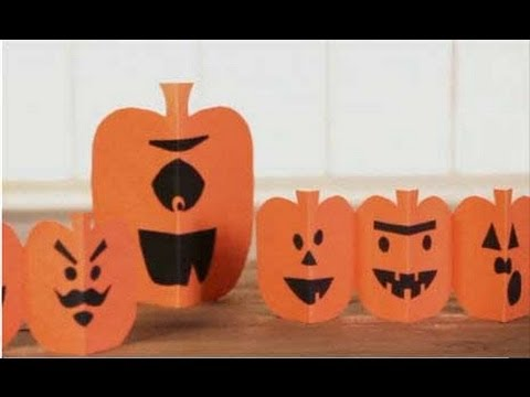 Paper Pumpkin Halloween Crafts for Kids - YouTube