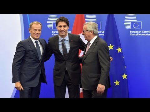 Eu Canada Sign Historic Ceta Free Trade Agreement Youtube