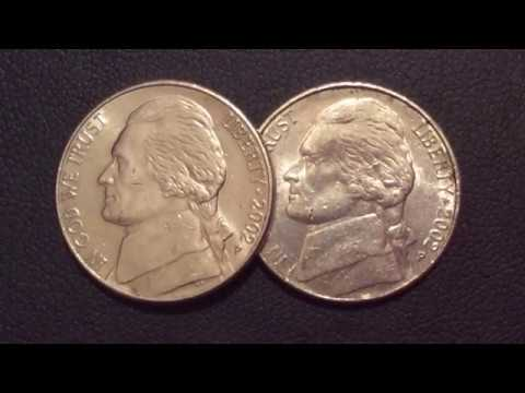 2002 Jefferson Variety P small and large Five Cents USA COINS.Centavo Coins.Moeda Jefferson Nickle