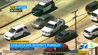RAW VIDEO: Suspect arrested after slow-speed pursuit in South Los Angeles | ABC7