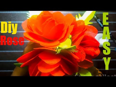 How To Make Diy Rose Flower By Shopping Bag|Make Rose Using Carry Bag|Best Out Of Waste Idea 2019