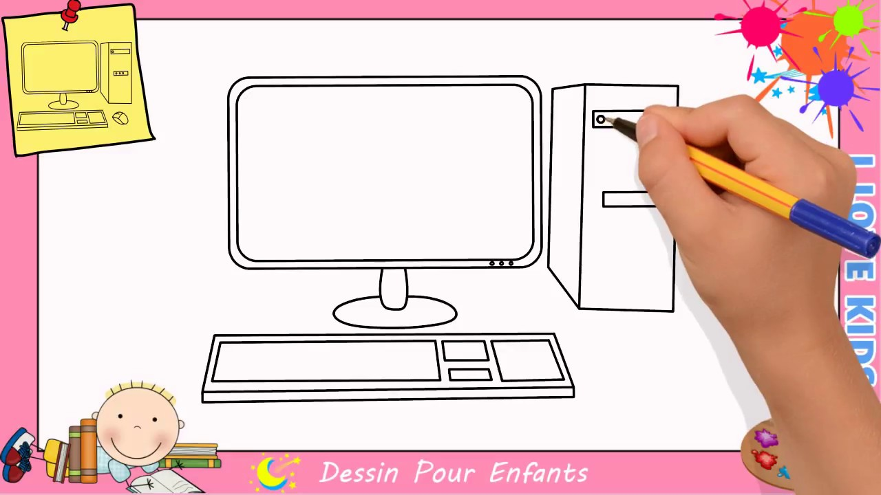 comment dessiner un ordinateur facile etape par etape pour enfants 1 youtube. Black Bedroom Furniture Sets. Home Design Ideas