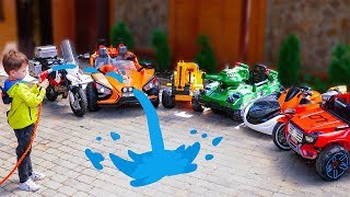Funny Baby washing cars SportBike Tema ride on Power Wheel Police car Video for kids
