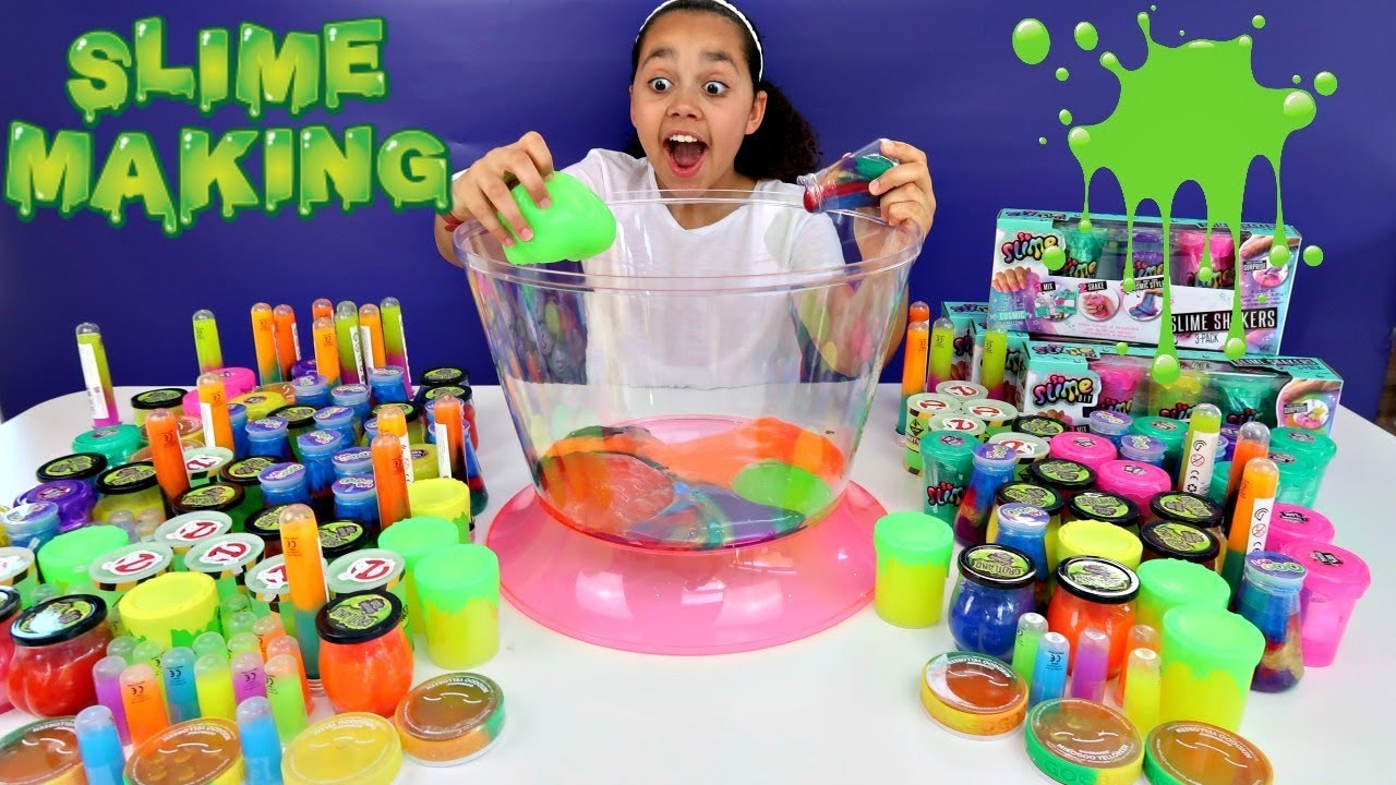 Mixing All My Slimes Diy Giant Slime Smoothie Toys
