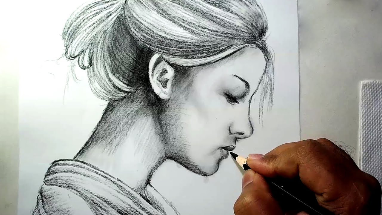 How to draw a girl face side view charcoal pencil drawing and shading