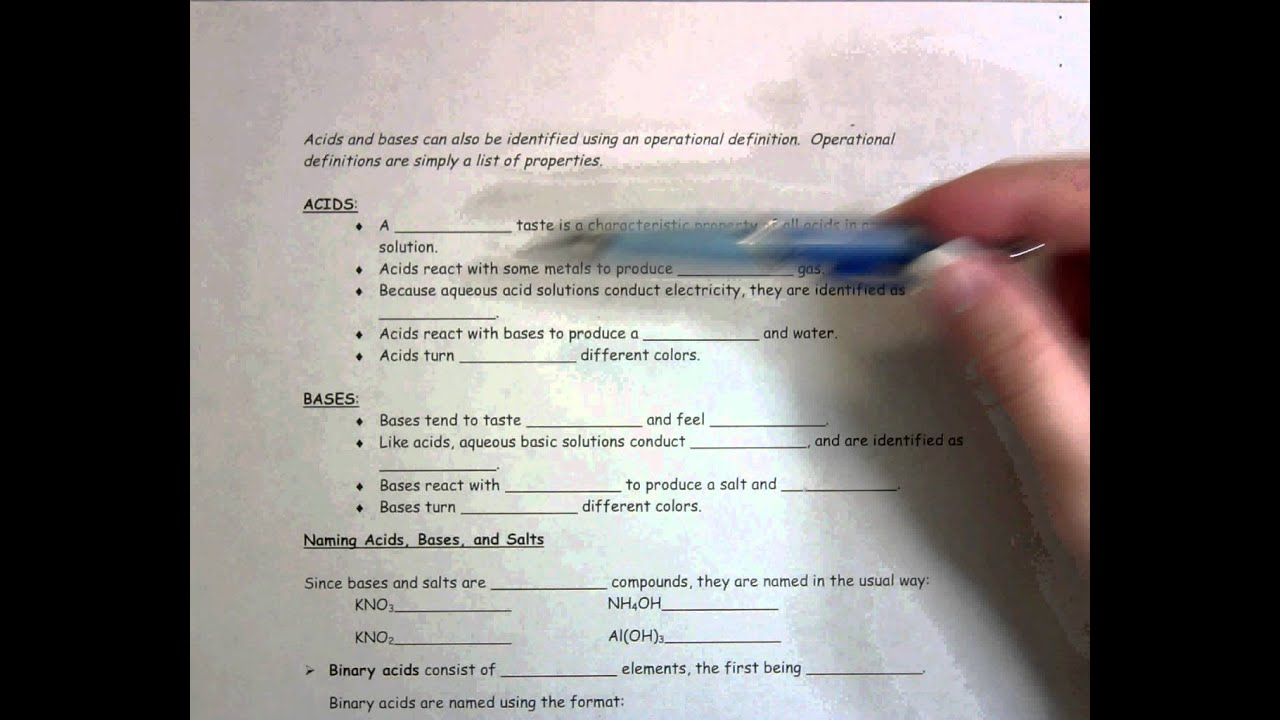 Worksheet Acids Bases and Salts - YouTube